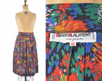 1980s YSL skirt / Yves Saint Laurent wool pleated painterly skirt  / 80s designer skirt
