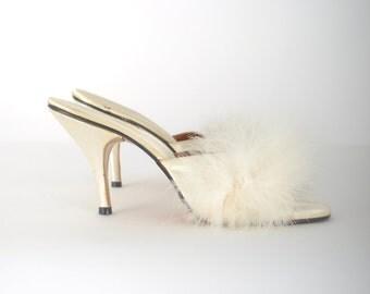 1950s marabou heels / Polly of California boudoir slippers / 50s white heels .. size 9 - 10