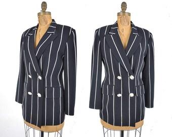 1980s Louis Feraud blazer / nautical dark navy and white double breasted jacket / 80s designer jacket