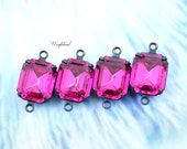 Fuchsia Swarovski Crystal 12x10mm Vintage Glass Octagon Stones Brass Prong Settings - 2