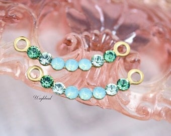 Erinite Chrysolite Pacific Green Opal Delicate SwarovskRhinestone Curved Link Connector Charm Pendant Set Stones 28x3mm Brass Settings - 2 .