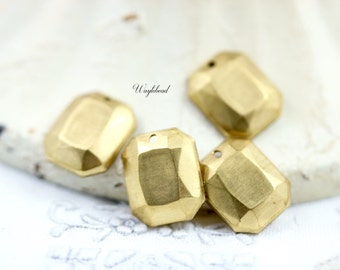Raw Brass Faceted Octagon Charms - 6