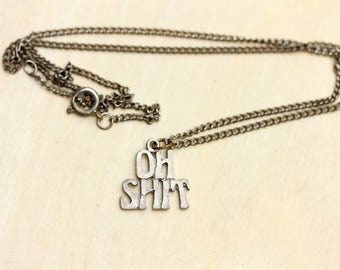 Silver Curse Word Necklace, Curse Word, Funny Necklace, Silver Word Necklace, Word Necklace, Silver Charm Necklace, Silver Chain Necklace