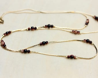 Long Chain Necklace, Gold Chain Necklace, Beaded Chain Necklace, Gold Chain Necklace, Long Gold Chain Necklace, Jasper Necklace, Long Chain