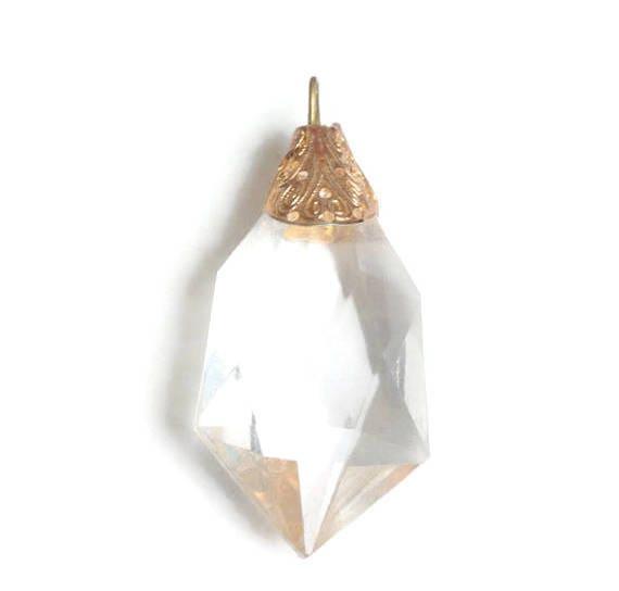 Faceted Lucite Crystal Pendant Gold Tone End Cap Vintage