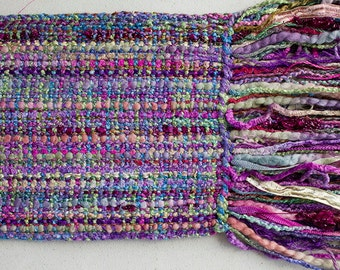 "Handwoven Hand-dyed Ribbon Scarf with long fringe - Nepeta/Purple Fizz- 74""x 5"""