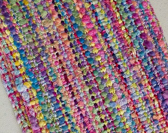 "Handwoven Hand-dyed Ribbon Scarf with long fringe - Fiesta, 75""x 5"""