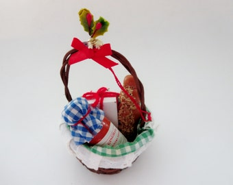 Vintage Gift Basket Christmas Ornament - Kurt S. Adler Collectible Christmas Ornament Gift Basket With Bread, Present & Jam