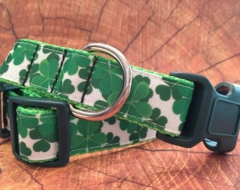 Shamrock Dog Collar, In XS, S, M, L, XL, For St. Patrick's Day Dog