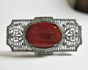 1920s Vintage Art Deco Filigree Brooch - Pin - Carnelian Color - Silver Tone