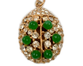 1960s Volupté Gold Tone Rhinestones and Faux Jade Pearl Domed Oval Vintage Pendant