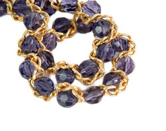 1990s Nolan Miller Glamour Collection Crystal Purple Bead and Gold Tone Chain Adustable Vintage Choker Necklace