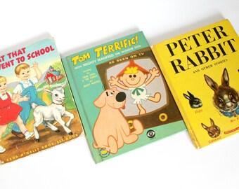 Vintage Childrens Book Set Peter Rabbit Tom Terrific Goat Went to School Mid Century Kids Room Decor Instant Library