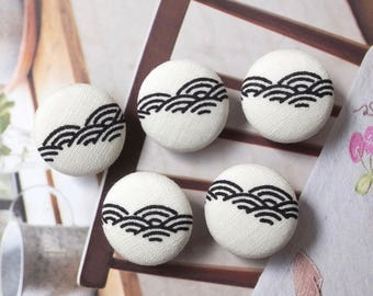 Japanese Traditional Geometry Geometric Zen Style Black Ocean Waves On White-Handmade Fabric Covered Buttons(0.75 Inches, 5PCS)