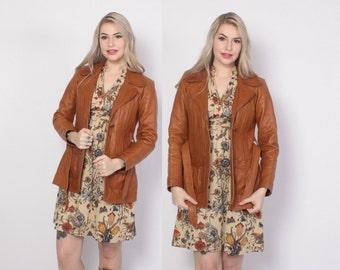 Vintage 70s LEATHER JACKET / 1970s Mango Road Belted Caramel Brown Leather Jacket S