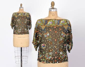 Vintage 80s Silk Sequin Top / 1980s Sheer Fancy Cocktail Trophy Blouse