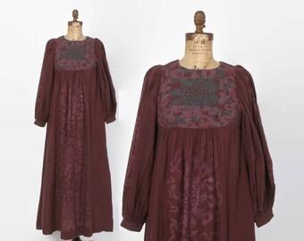 Vintage 70s Ethnic Print DRESS  / 1970s Boho Balloon Sleeve Maxi Dress