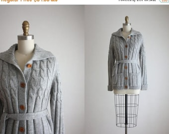 25% SALE belted dove grey cardigan