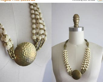 25% SALE 1970s hammered brass necklace