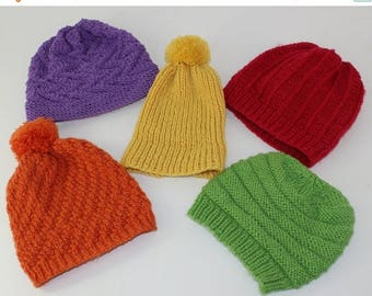 50% OFF SALE 5 Easy Design baby Beanie Hats knitting pattern by madmonkeyknits instant digital file pdf download