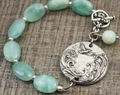 Bird and wave bracelet, light blue amazonite beads, multicolor jewelry, silver 7 1/4 inches long