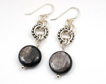 """Black dangle earrings, sterling silver French hooks, hypersthene beads, 1 5/8"""" long"""