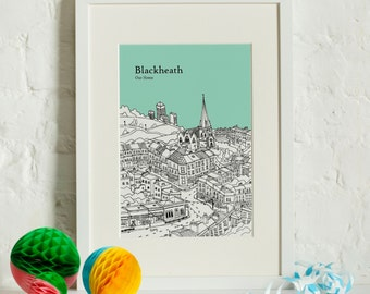 Personalised Blackheath Print | Unique Wedding Gift | Blackheath Illustration | Blackheath Poster | Valentines Day | Wall Art | City Skyline