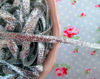 Metallic Velvet Glitter Ribbon - Silver - 3/8 inch - 2 Yards