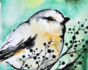 Original Green Bird Watercolor ACEO  Miniature Painting