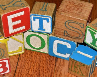 Vintage Wooden Alphabet Blocks -Customized own choice  name or word - pick the doodletters