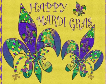 Happy Mardi Gras fleur dd lis place mats from my art. Available as laminate , woven cotton or polyester.