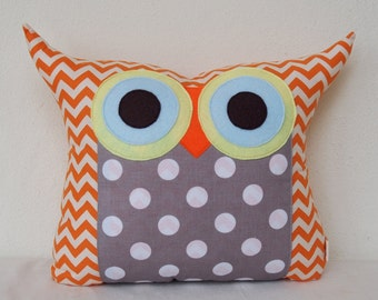 Use coupon codes/Large size /Home decor/plush owl pillow/Grey/dots /cushion pillow /Polyfil Stuffed  Owl Pillow/chevron/for him for her