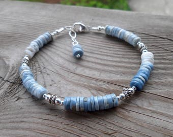 Grey, Blue and White Opal Genuine Gemstone Sterling Silver Bracelet