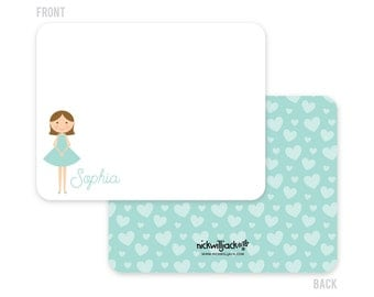 Personalized Girls' Note Cards - Personalized Flat Note Cards - Personalized Mini Me Stationery for Kids - Mermaid Cards - Kids' Stationery