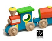 Ready to Ship FIVE CAR Wooden Toy Train, Hand Made Hand Painted by Vibrant Trains