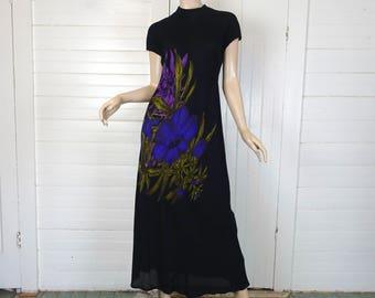 90s Iris Maxi Dress- Black & Purple- Grunge Goth Witch- High Neck