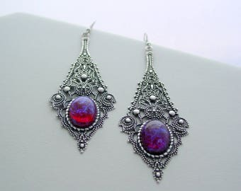 Mexican Opal Dragon's Breath Vintage Glass Cabochon Filigree Dangle Earrings Oxidized Finish