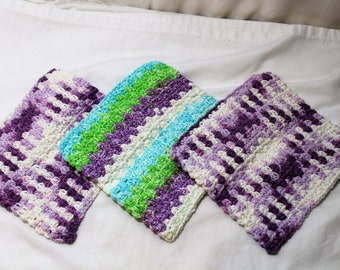 Set of 3 Hand Crocheted Cotton Dish Cloths, Purple, Turquoise, Lime Green, White, Ready to Ship
