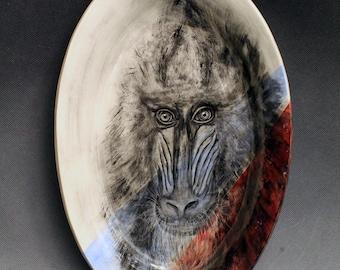 Hand Painted Ceramic Mandrill Serving Dish