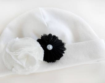 Organic Cotton Hat, Baby Girl Hat, Beanie with Flowers, Newborn Cap, White  Infant Girl Beanie, Embellished Hat, Hospital Hat, Baby Girl Cap