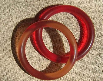 Two Bracelets Frosted Glass Look in Plastic