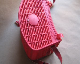 Fiorucci Red Plastic Fishing Creel Basket Bag