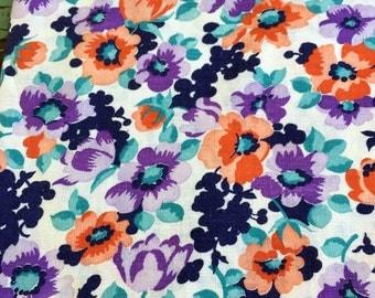 Vintage Feedsack fabric Bright Floral Flowers Purple Peach Teal Green