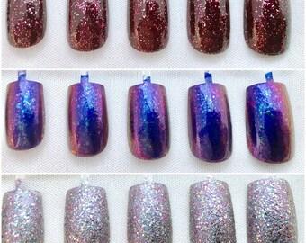 5 Sets Purple and Burgundy Square Fake Press On Nails, False Nails, Medium Nails, Nail Art, Acrylic Nail, Glue On Nails