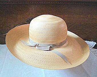 SALE 1950s Fine Woven Straw Hat Wide Brim by John Wanamaker Derby Church