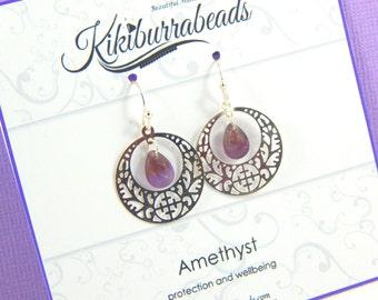 Amethyst Earrings, February Birthstone, Silver Amethyst Earrings, Amethyst Jewelry, Gemstone Jewelry