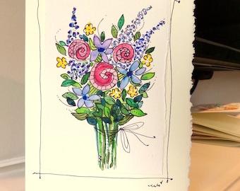 "Flower Bouquet  Watercolor Original Strathmore Card 5"""" x 6 7/8"" & Envelope Card Blank  betrueoriginals"