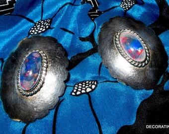 Native American Faux Opal Sterling Silver Earrings Pierced
