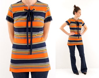 vintage 60s striped MOD eyelet TIE long TUNIC top S-M