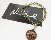 NEW YEAR CLEARANCE Antique Bronze Rollo Chain Bracelet - Amber Czech Glass Dragonfly Charm